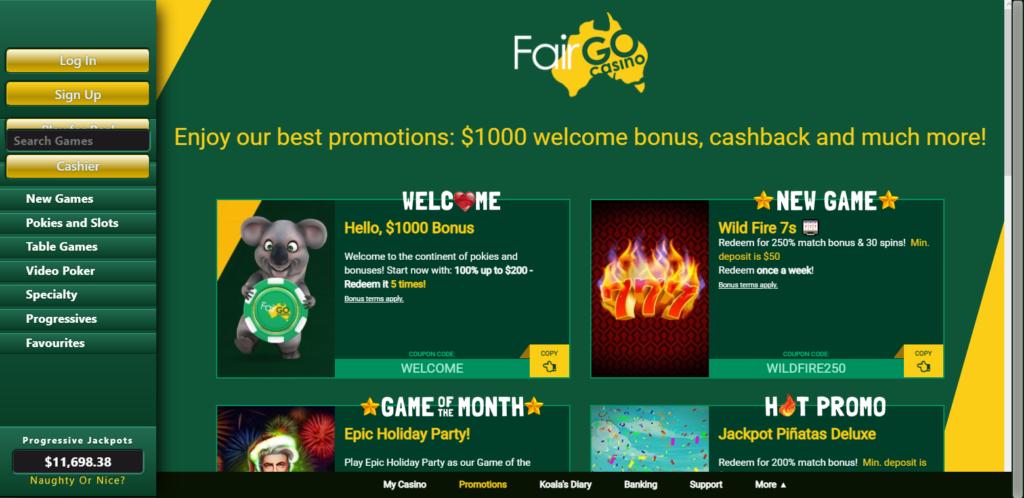Fair Go Casino Bonus Codes