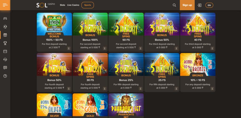 Sol Casino Bonus Codes